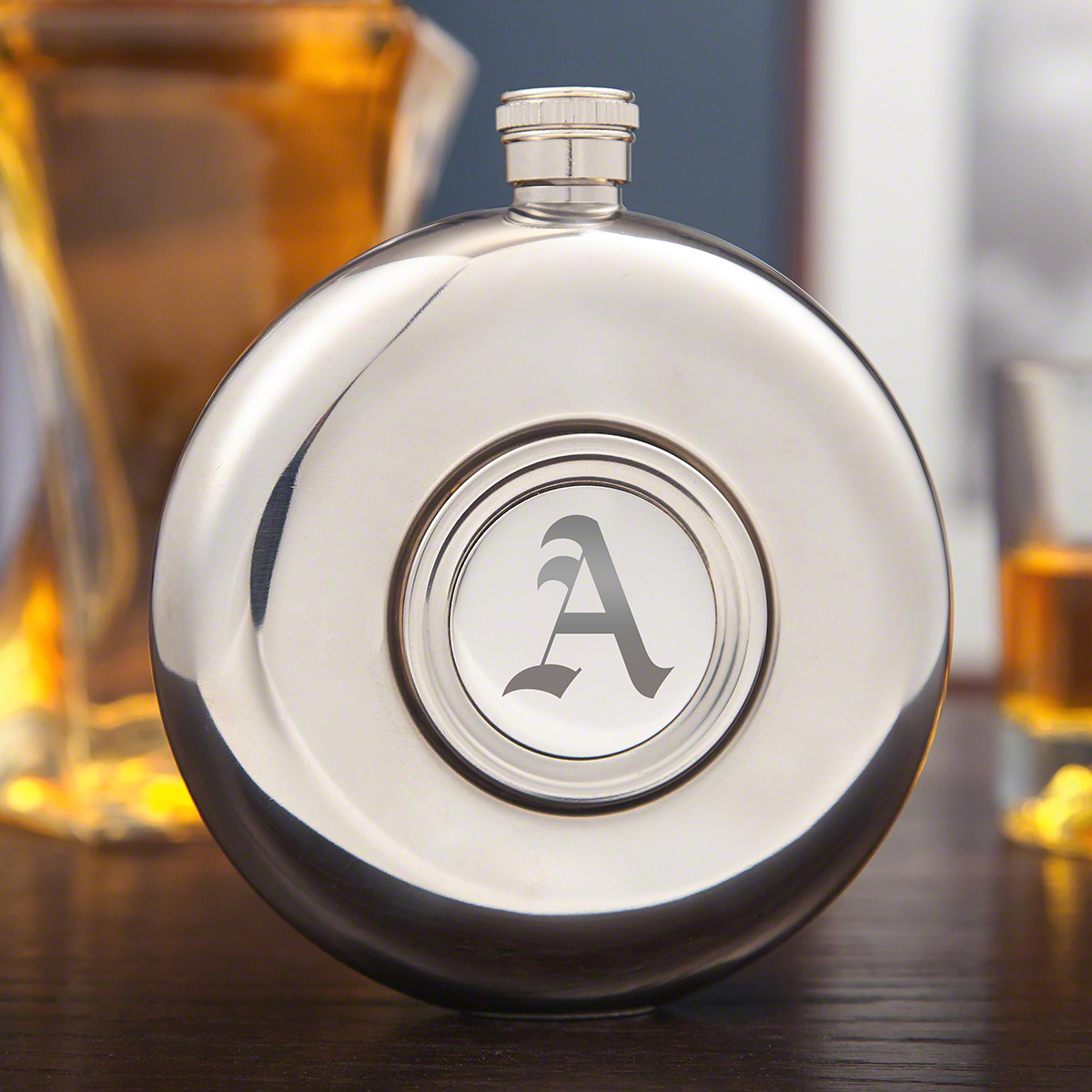 Hideaway-Round-Hip-Flask-and-Shot-Glass-(Engravable)