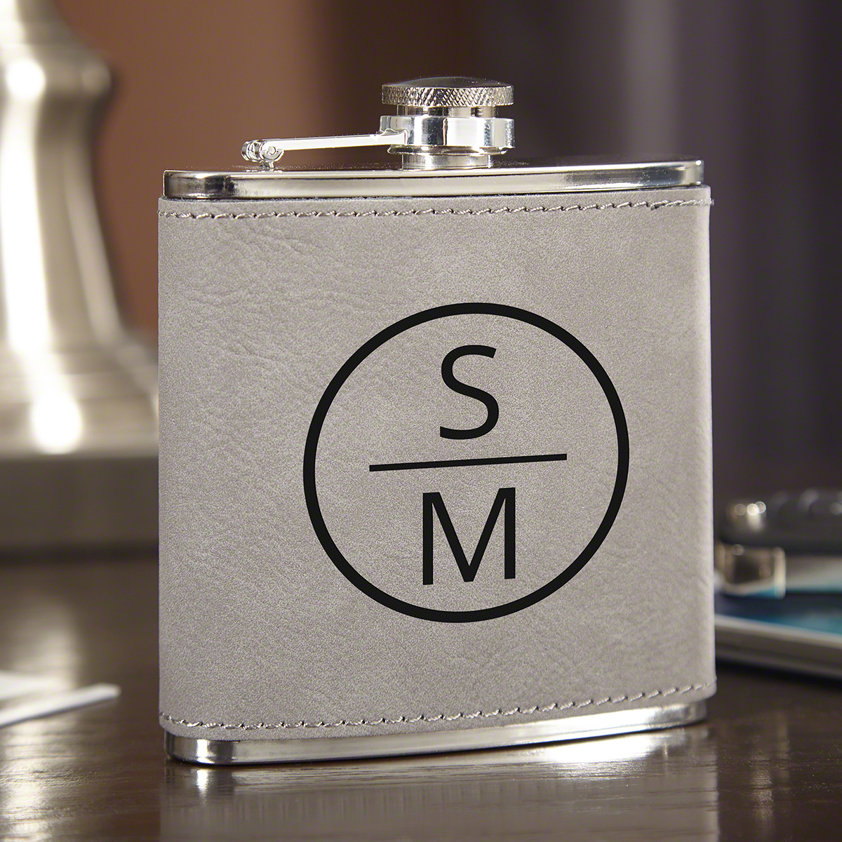 Emerson Personalized Slate Gray Hip Flask