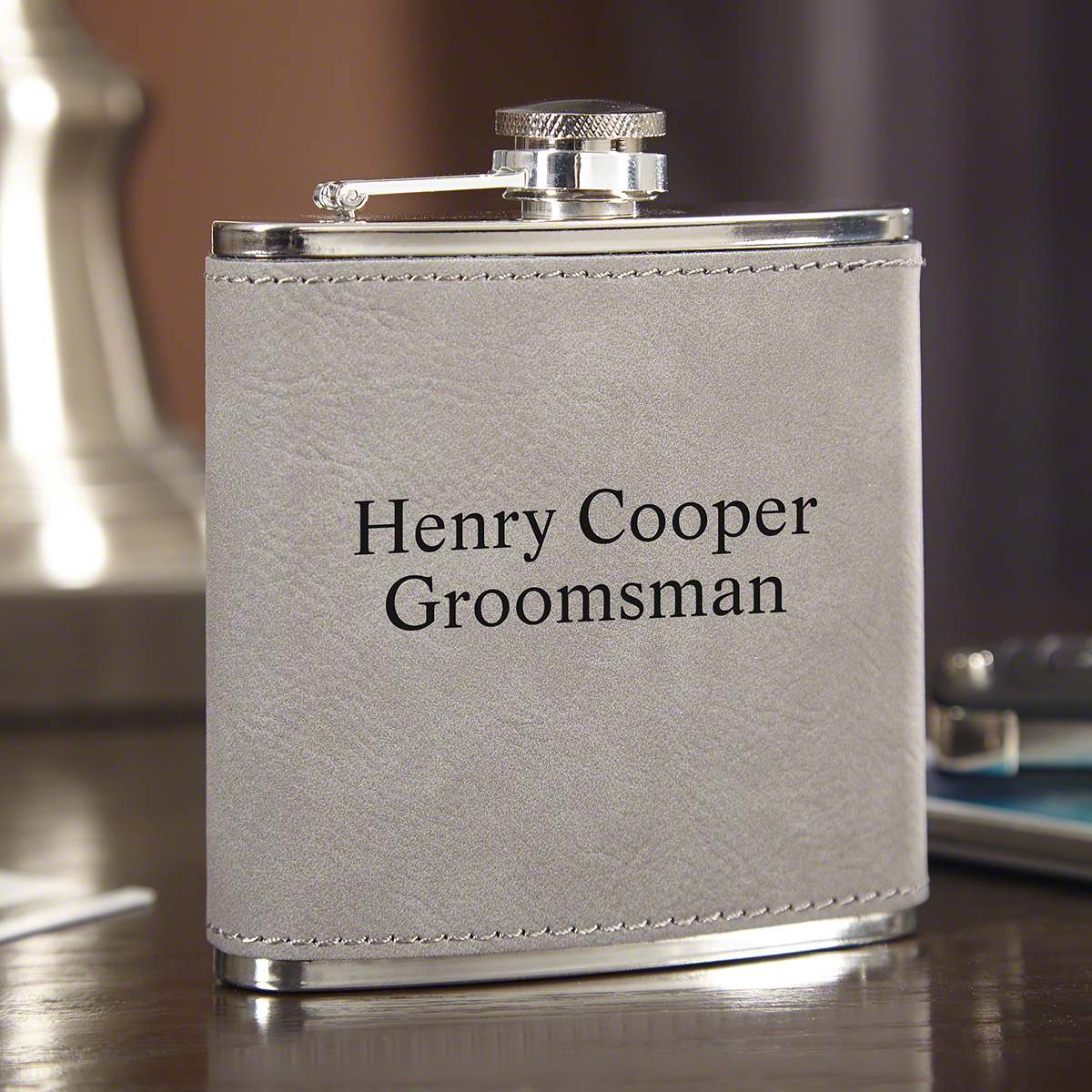 Personalized Slate Gray Hip Flask