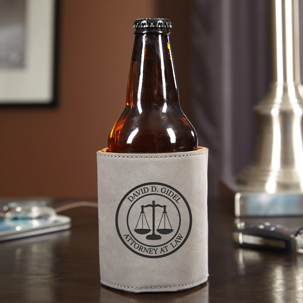 Scales-of-Justice-Personalized-Beer-Holder-for-Lawyers-Slate-Gray