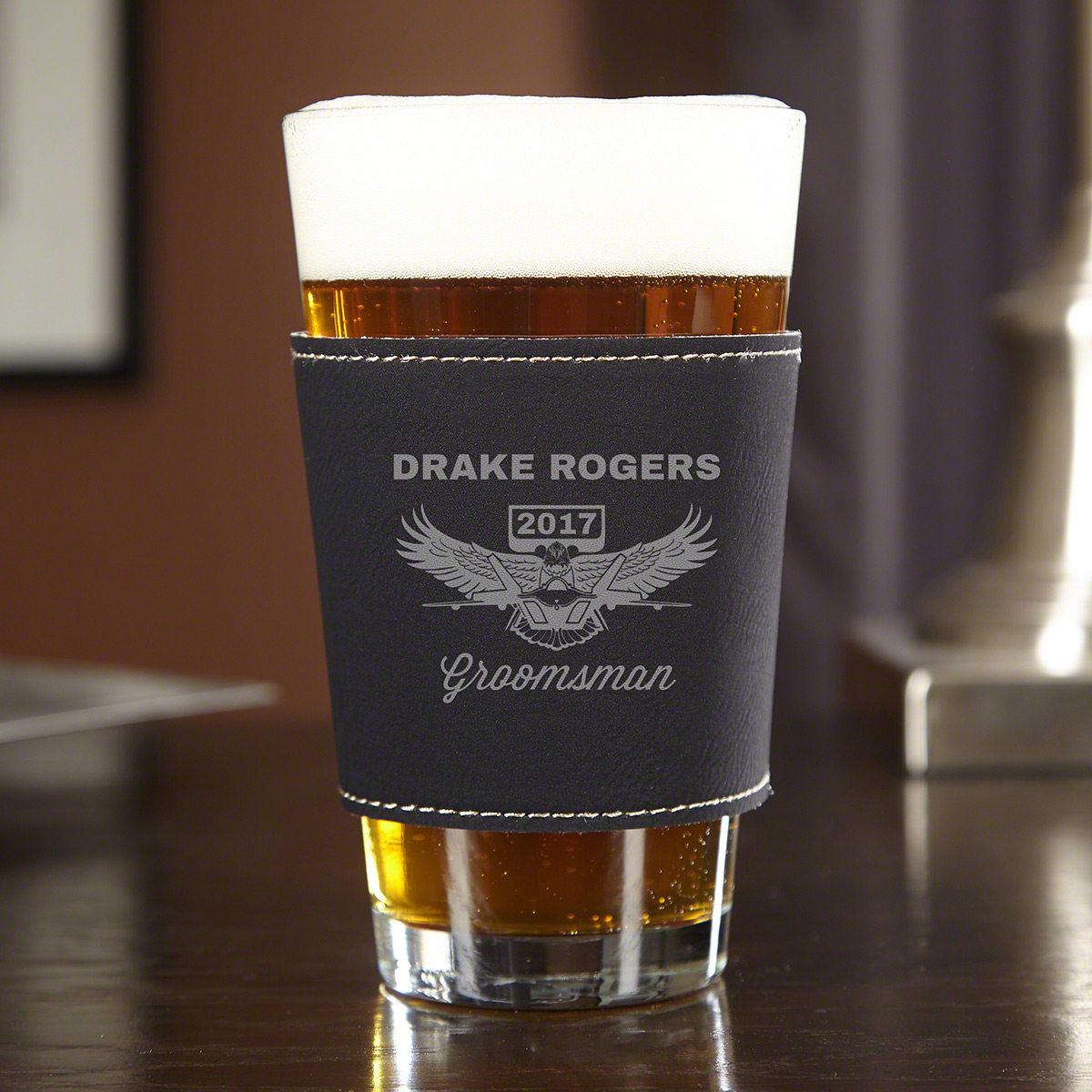 Wings Like Eagles Custom ThermaSleeve Pint Glass - Air Force Gift