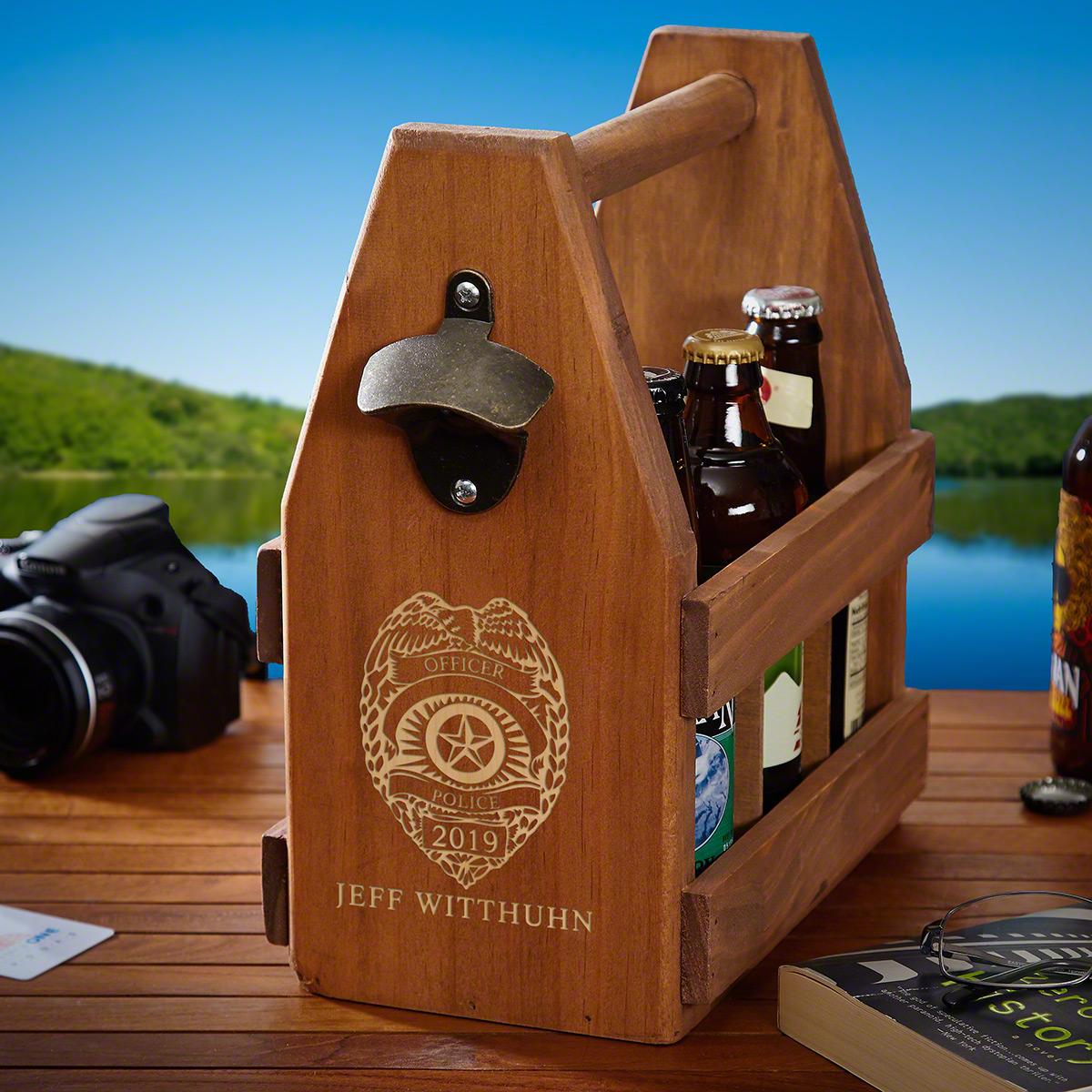 Police Badge Custom Wood Beer Caddy and Bottle Opener
