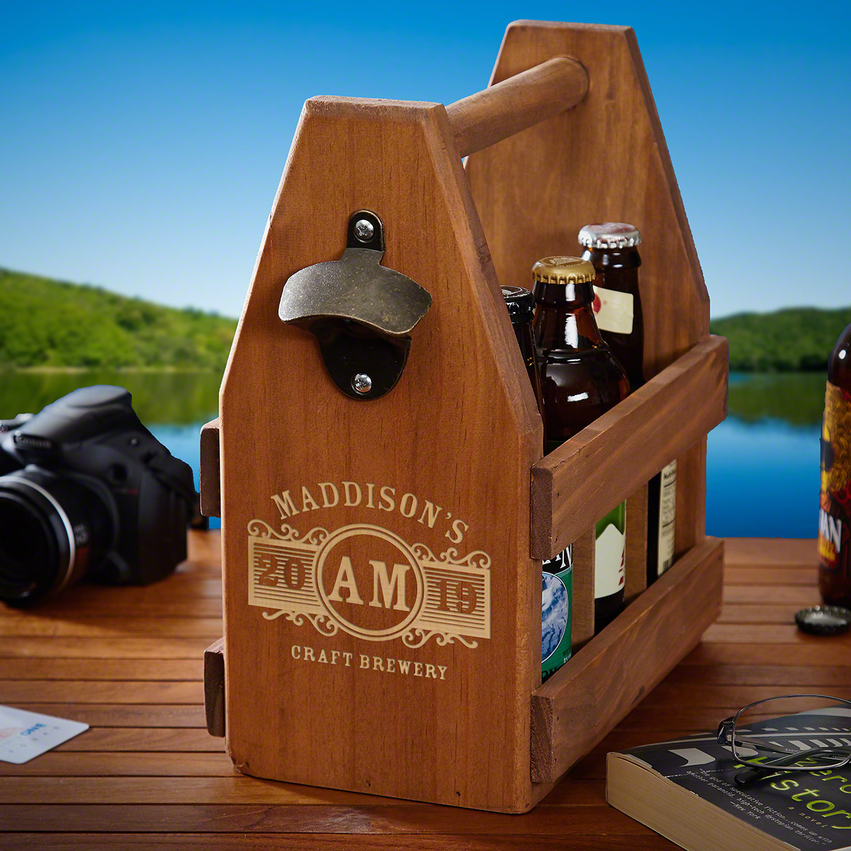 Marquee Personalized Beer Caddy and Bottle Opener