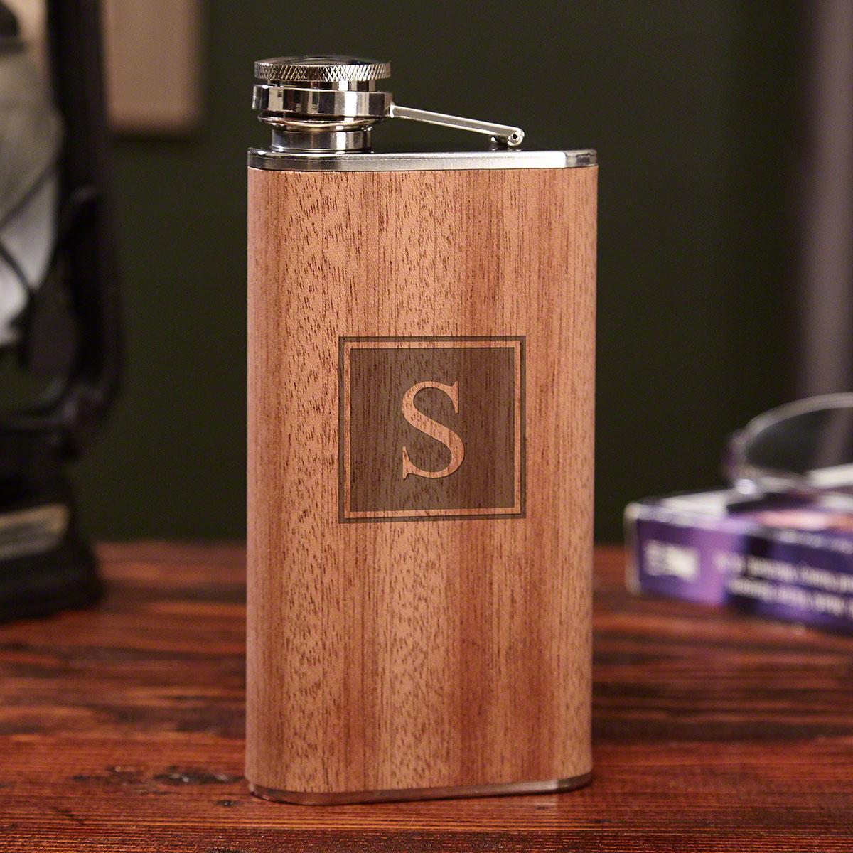 Block Monogram Wooden Hip Flask 9 oz.