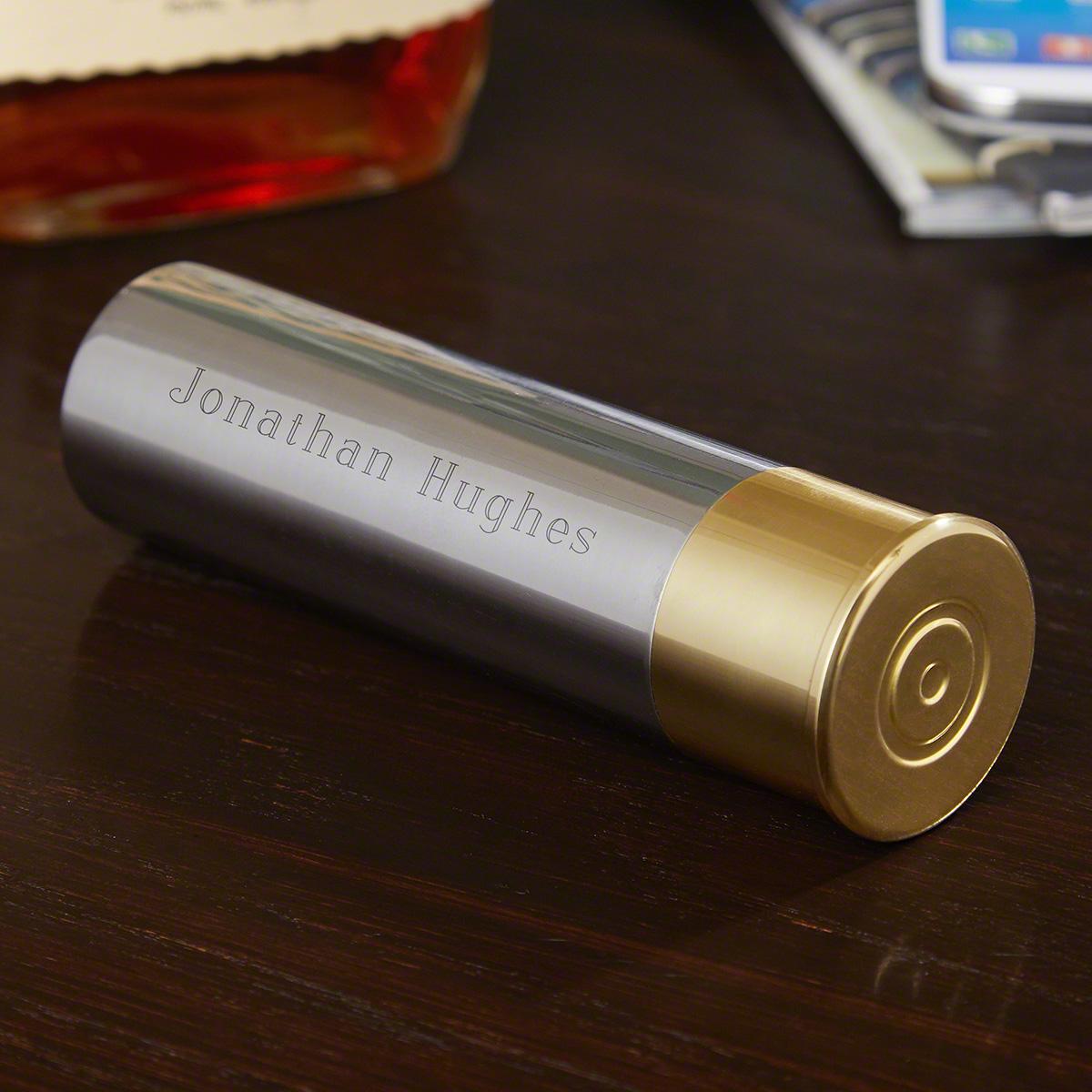 Shotgun Shell Engravable Stainless Steel Flask