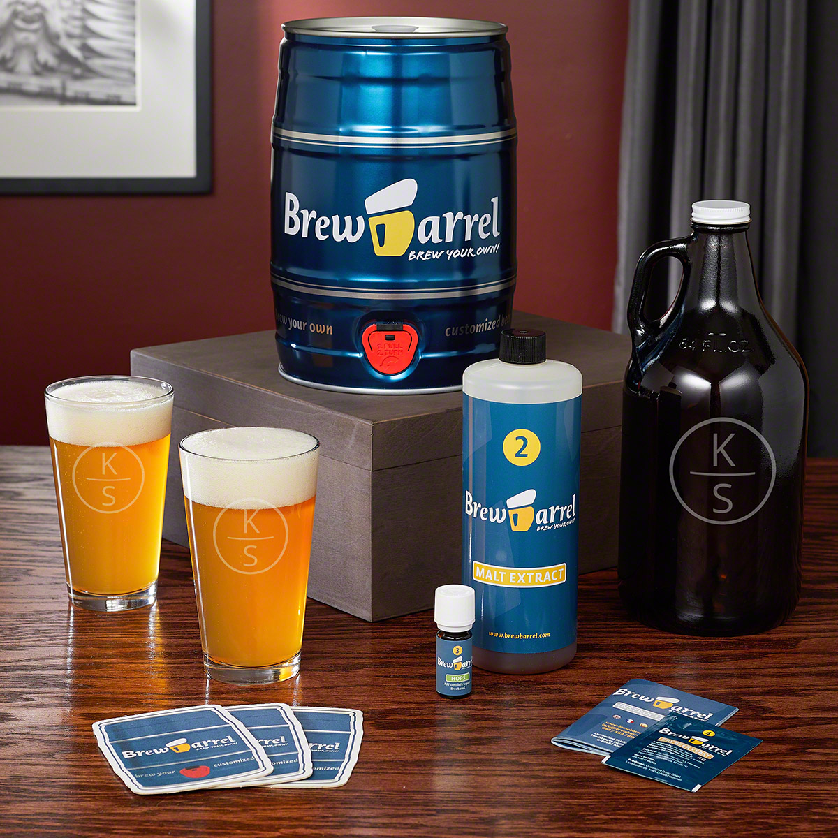 Emerson Personalized Glassware and Brew Barrel Craft Brew Kit