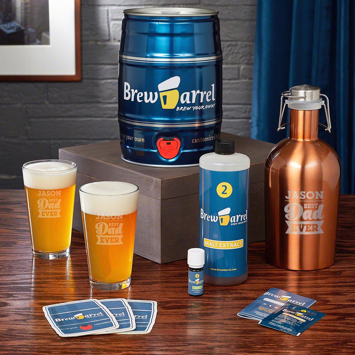 For the Best Dad Gift Set - Beer Glass Set with Brew Barrel Beer Making Kit