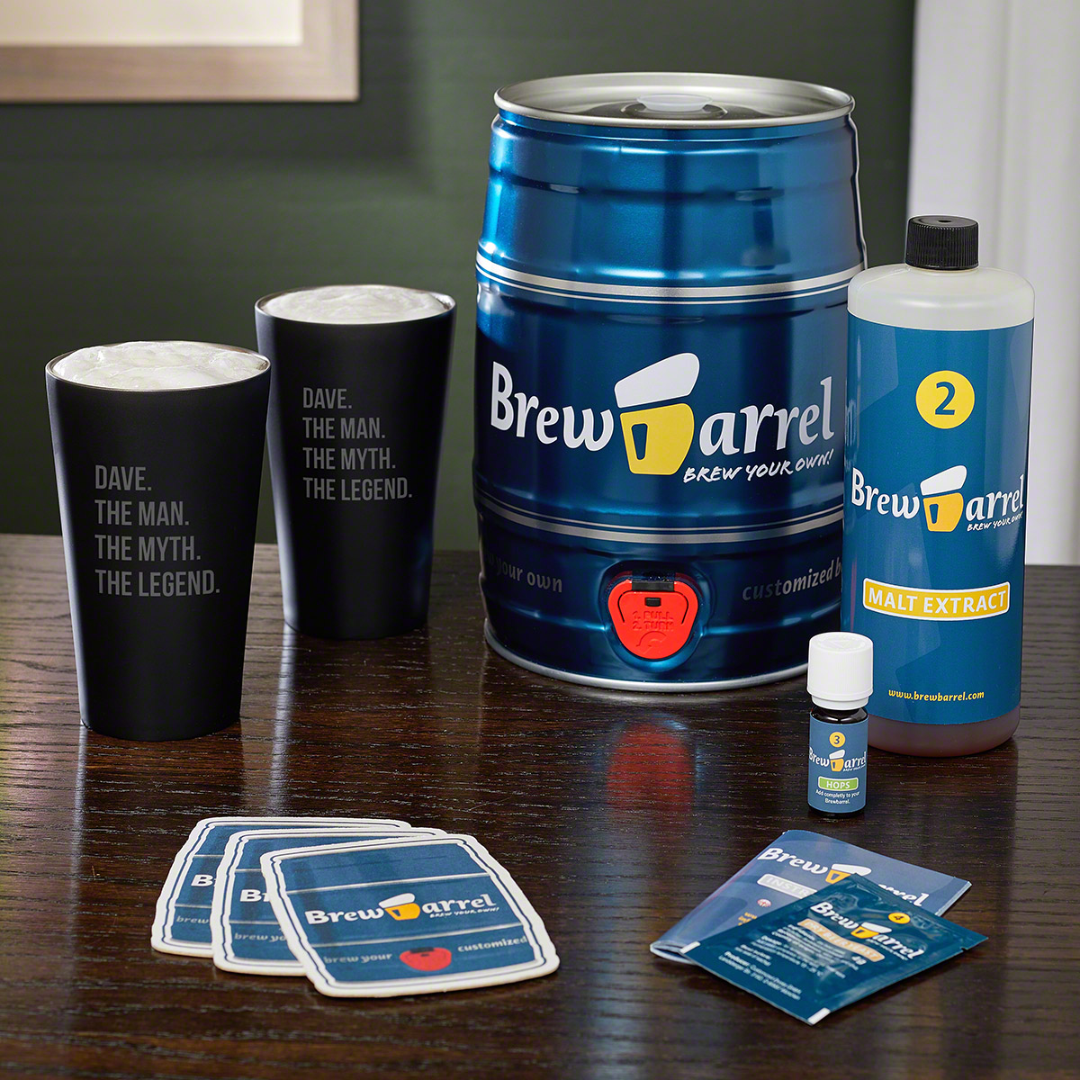 German Lager Brewing Kit and Engraved Craft Beer Pint Glasses