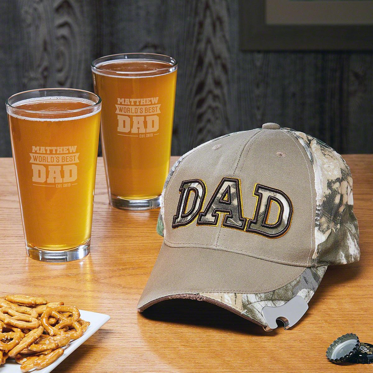 Baseball Cap Bottle Opener and Pint Glasses Gift for Dad