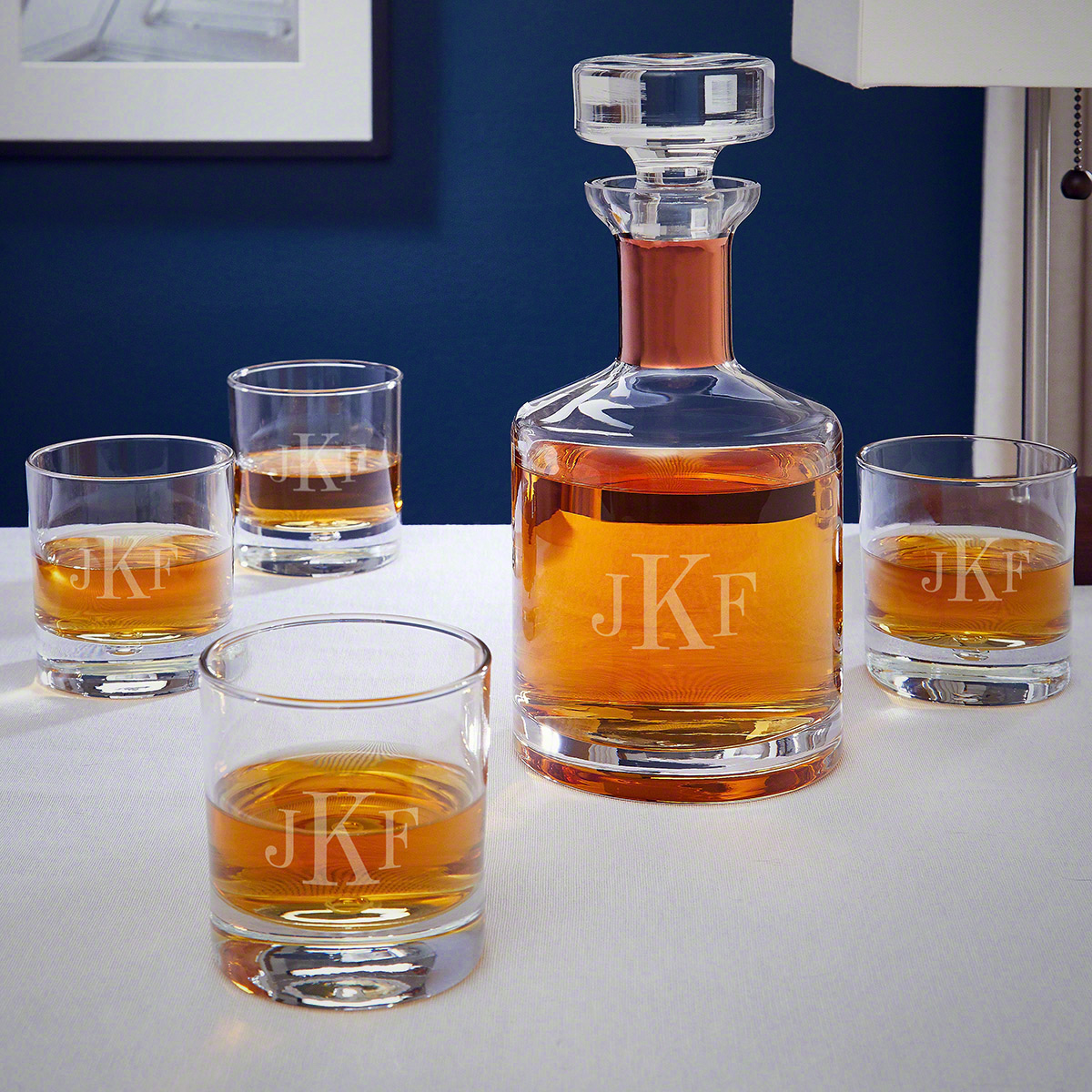 Classic Monogrammed Rocks Glasses and Belmont Decanter with Copper Collar
