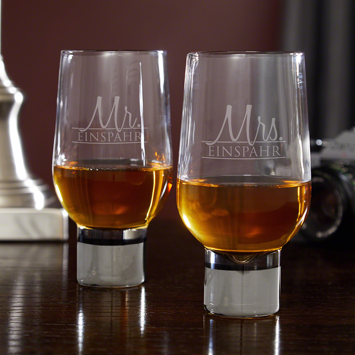Wedded Bliss Personalized His and Hers Whiskey Glasses Set of 2