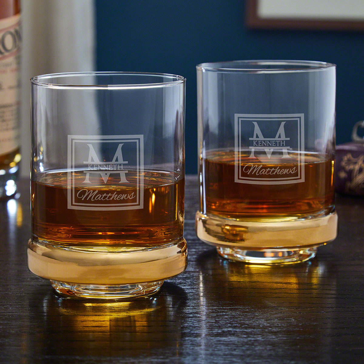 Oakhill Monogram Gold Band Etched Whiskey Glasses Set of 2
