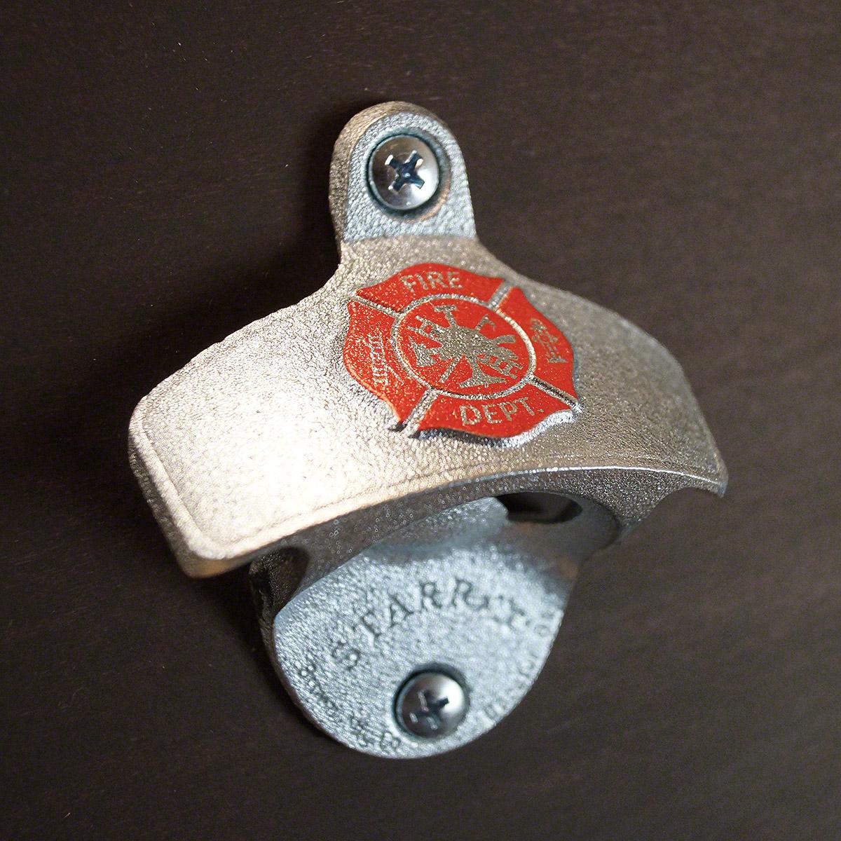Firefighter-Shield-Zinc-Plated-Wall-Bottle-Opener