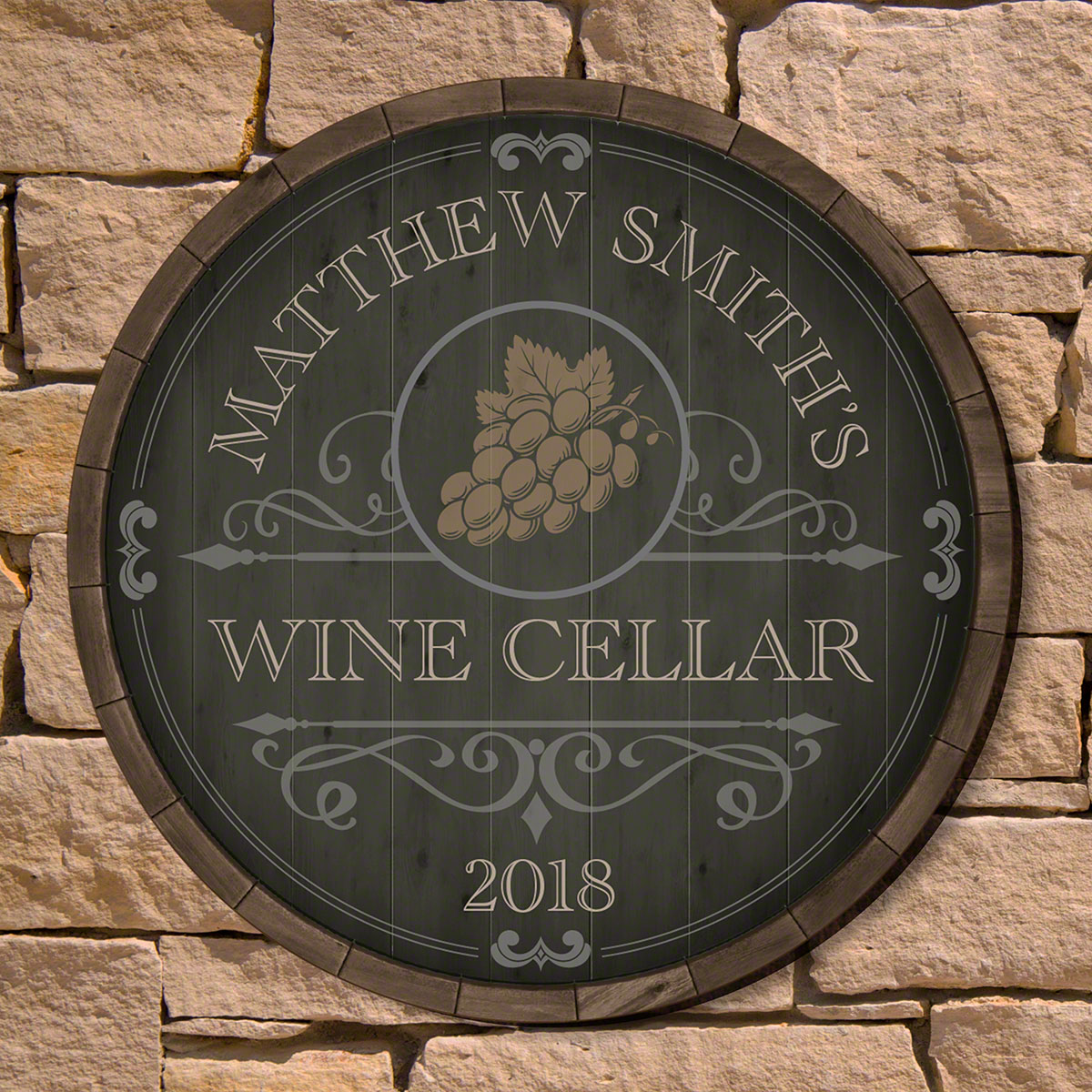 & Beauteous Barrel Personalized Wine Cellar Sign (2 Designs)