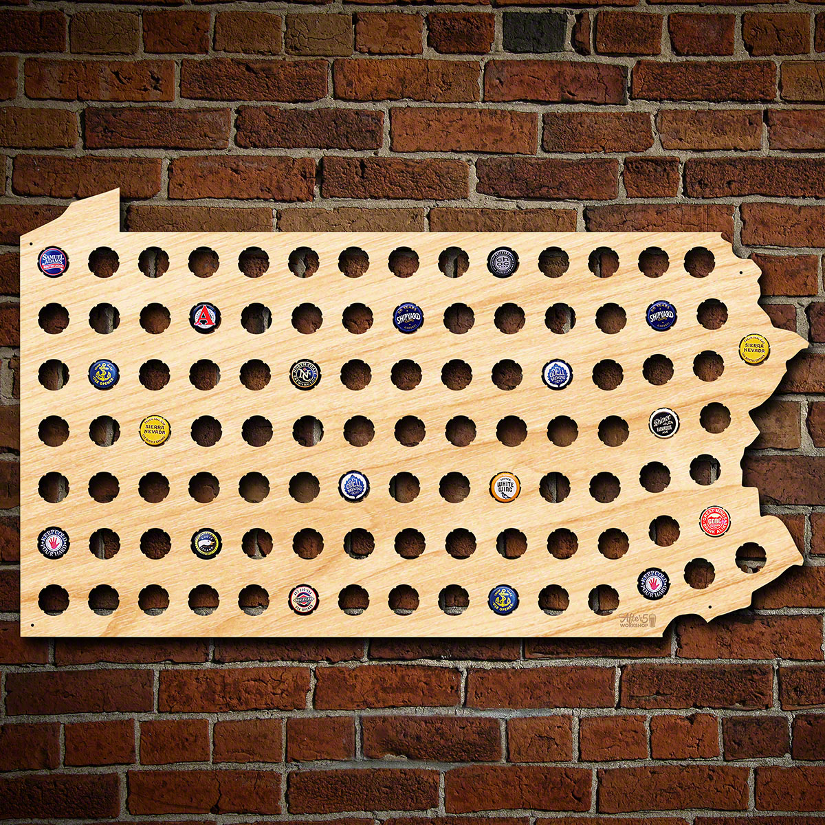 Giant XL Pennsylvania Beer Cap Map
