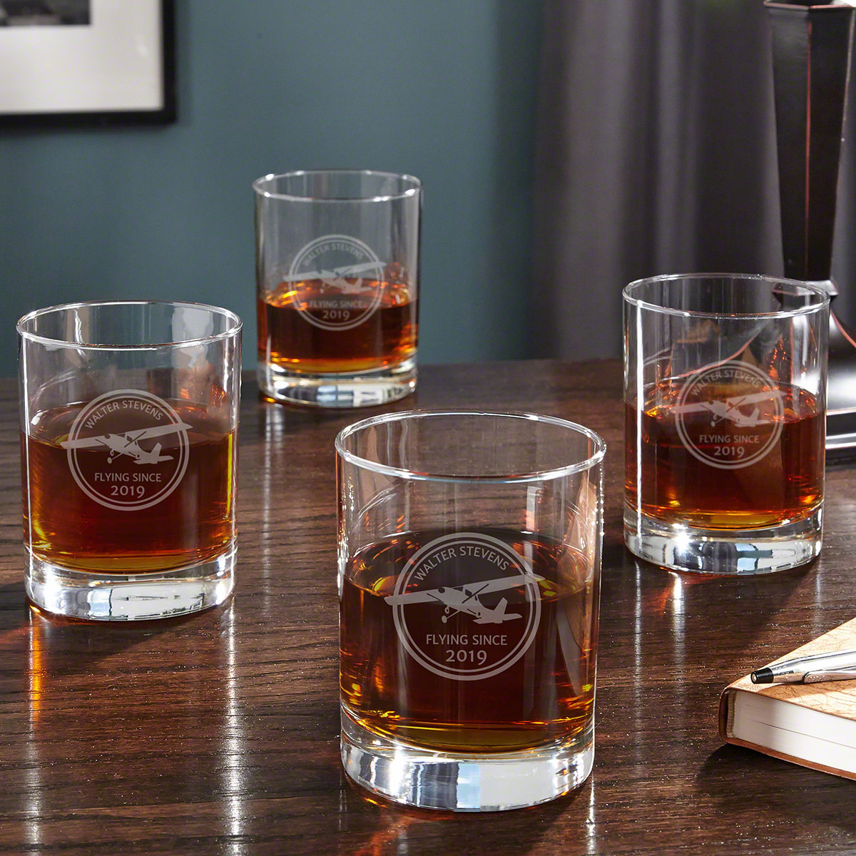 Aviator Personalized Whiskey Glasses, Set of 4