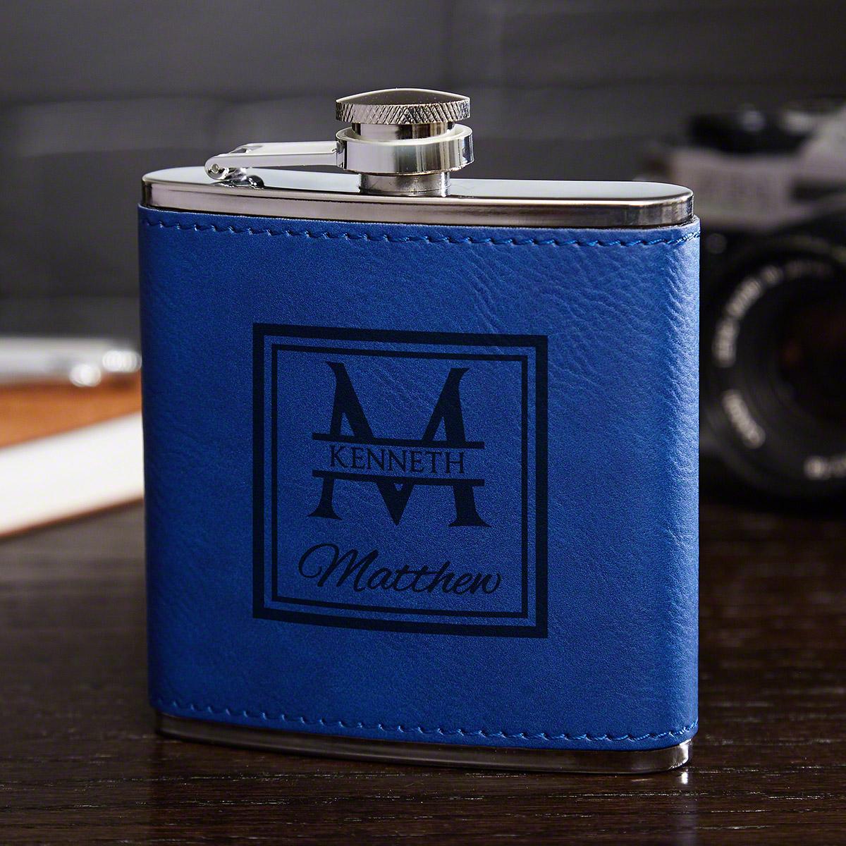 Oakhill-Monogram-Cobalt-Blue-Flask