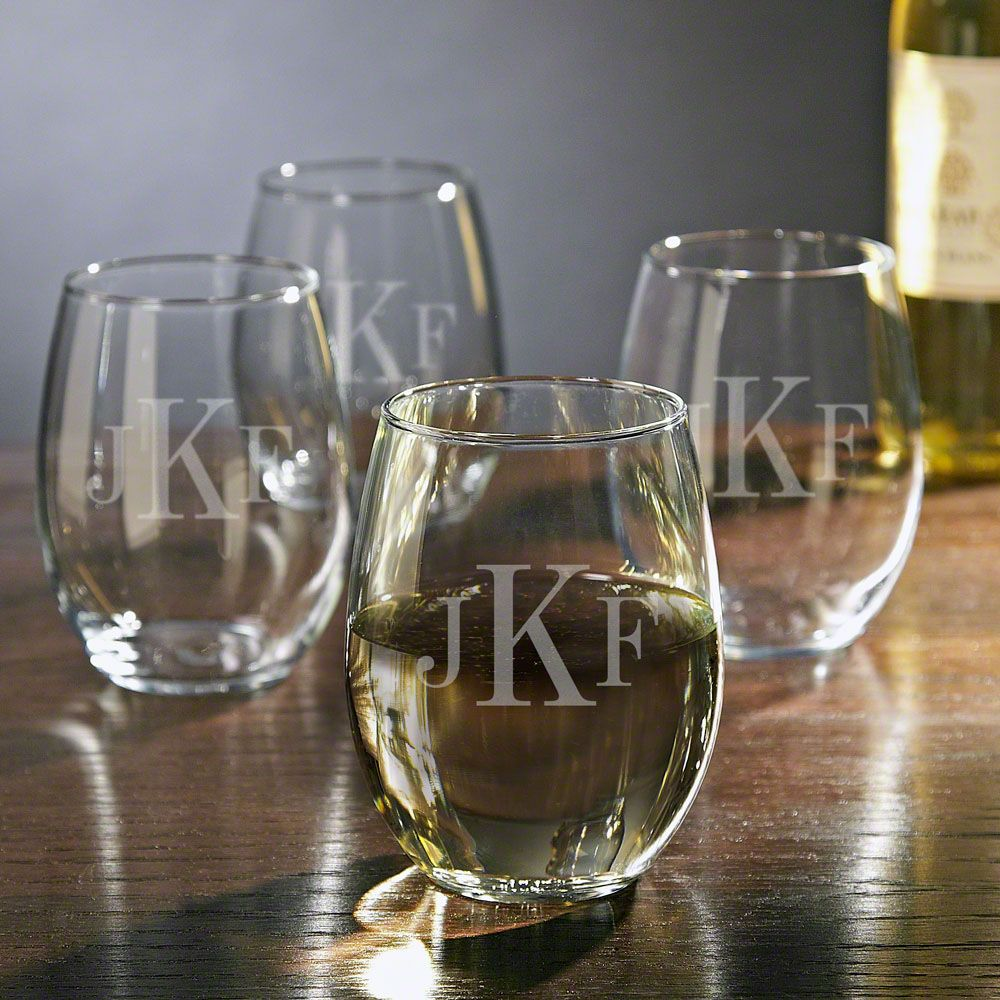 Monogrammed Stemless Wine Glasses, Set of 4