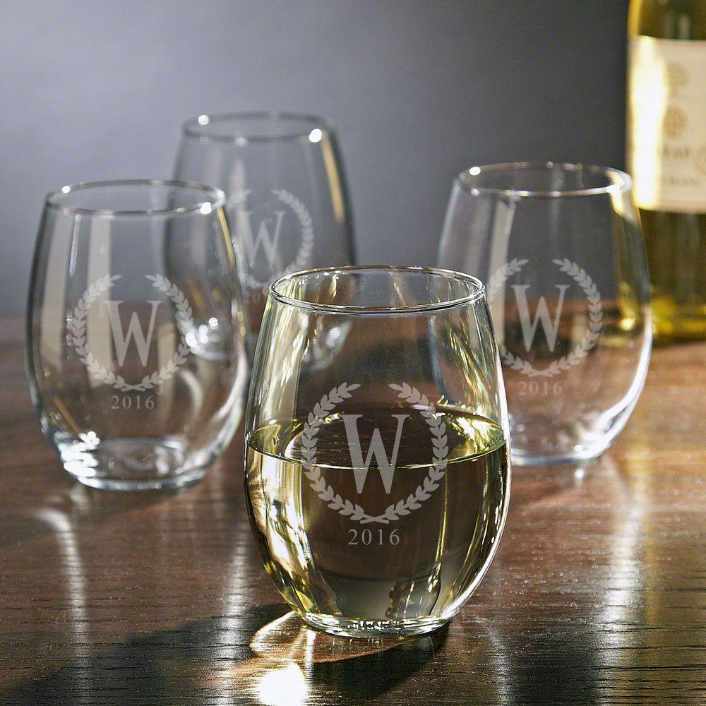Statesman Personalized Stemless Wine Glasses, Set of 4