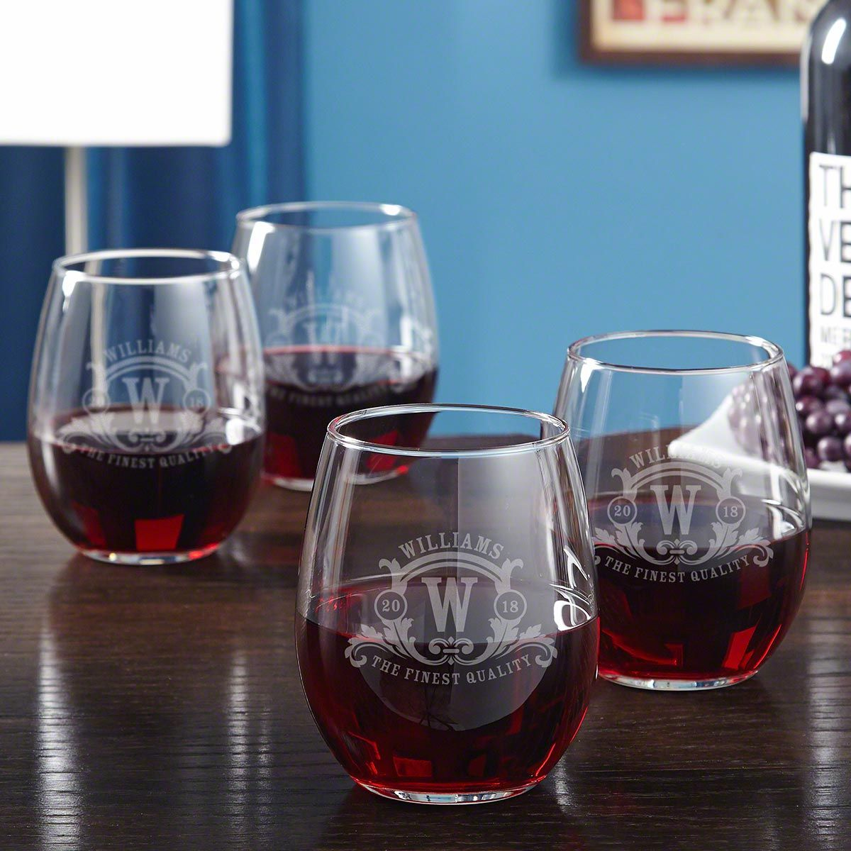 Westbrook Monogram Etched Stemless Wine Glasses, Set of 4
