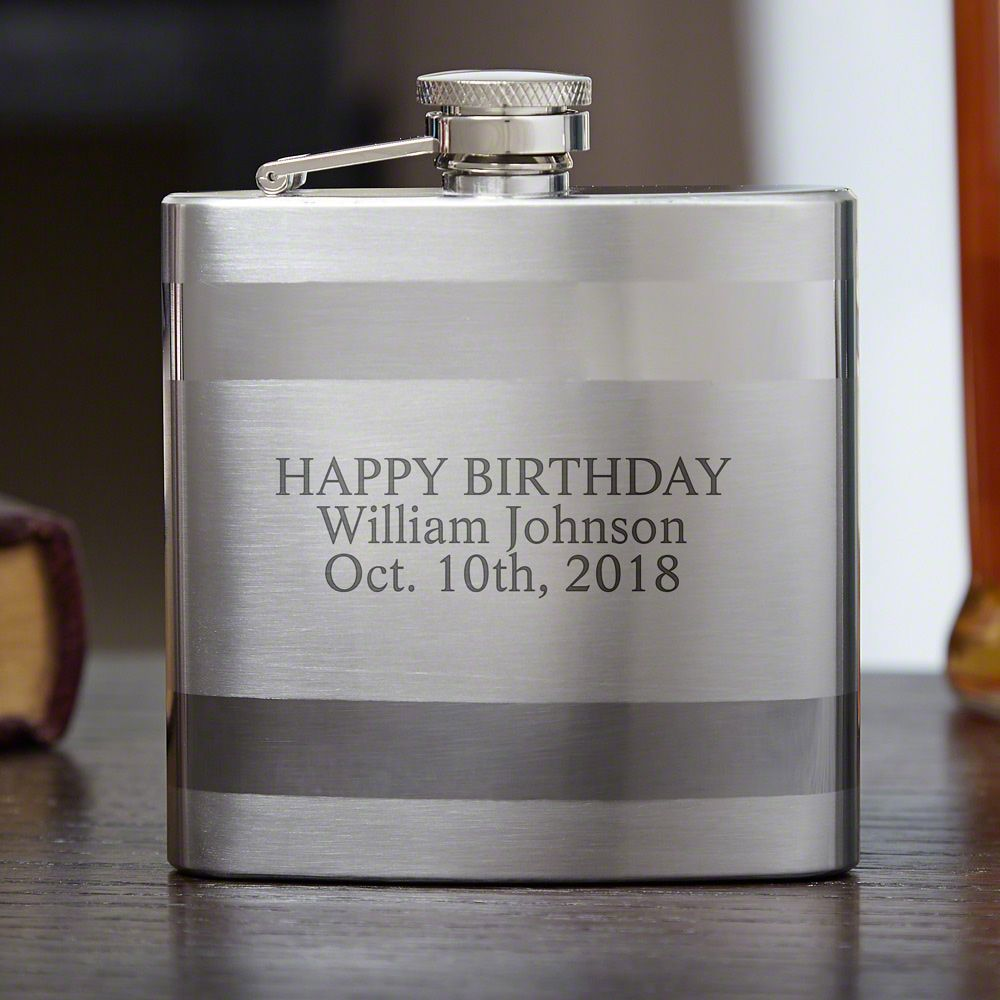 Banded Stainless Steel Flask (Engravable)