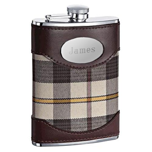 Brown Leather Plaid Hip Flask (Engravable)