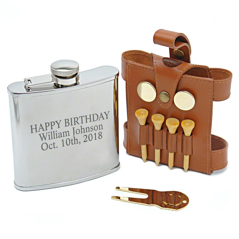 Brown Leather Golfer Hip Flask (Engravable)