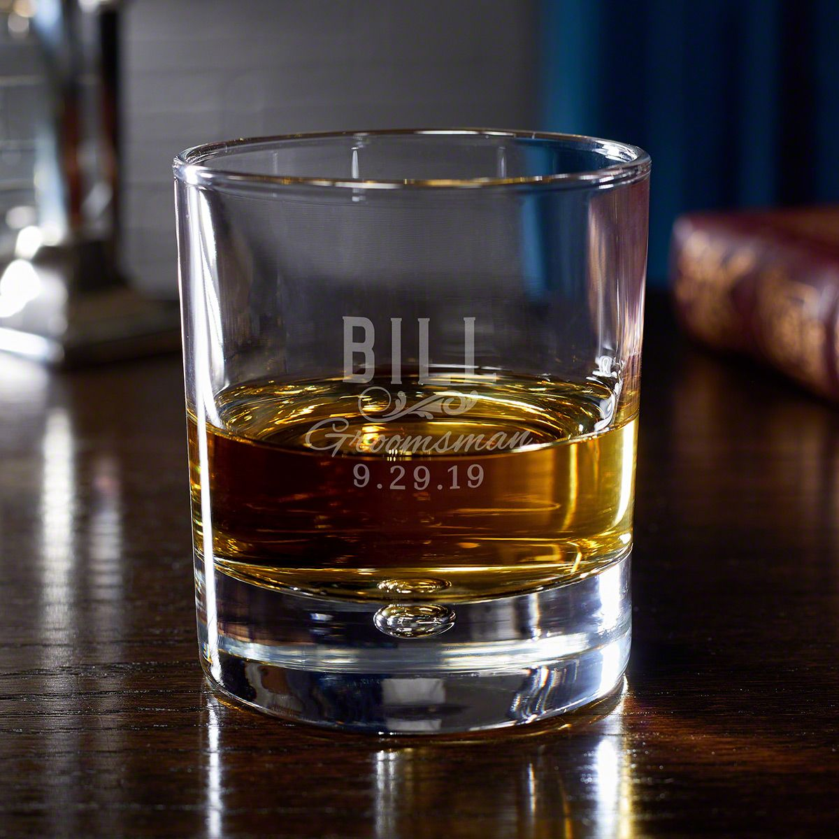 Classic Groomsman Personalized Whiskey Glass