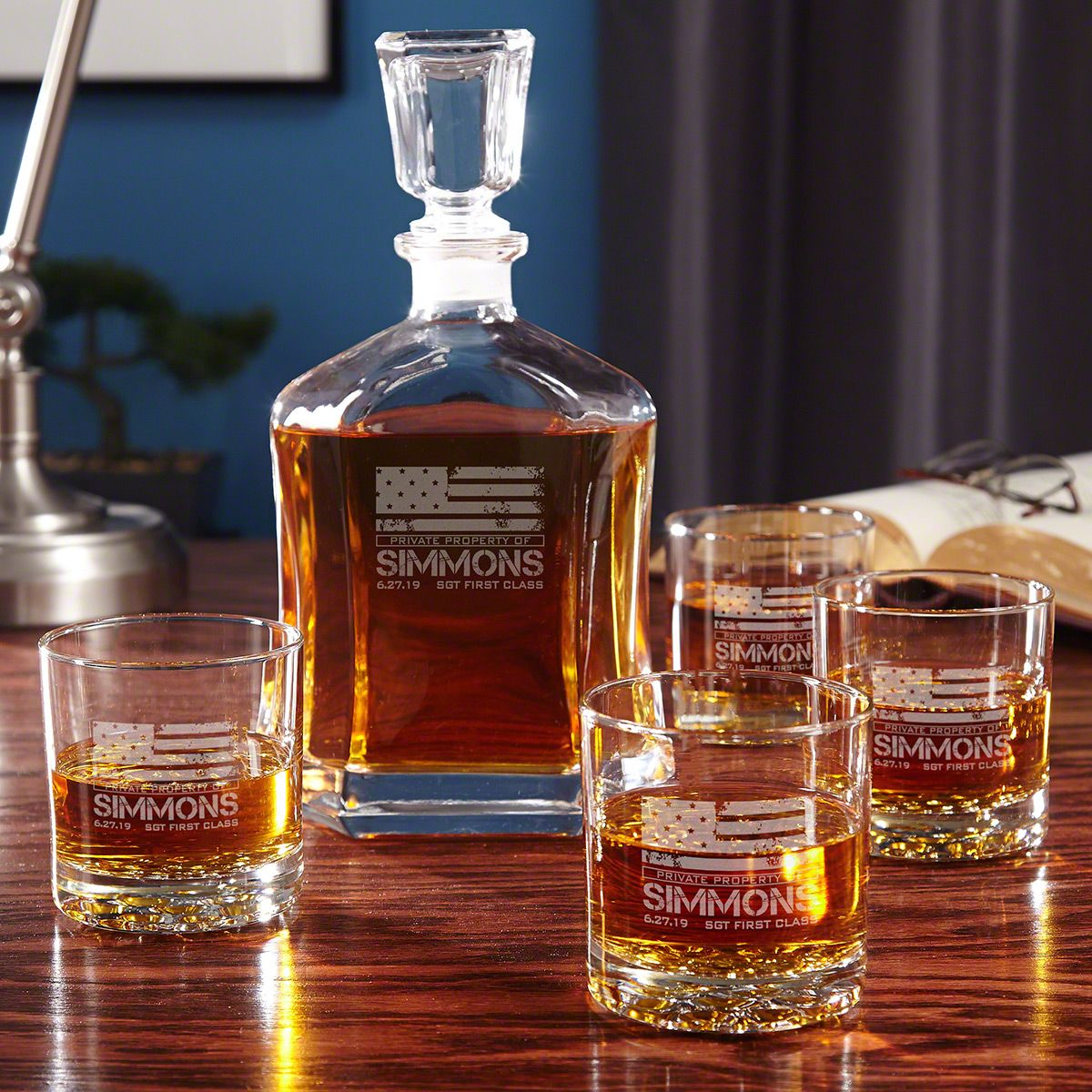 American Heroes Custom Whiskey Decanter Set with Glasses