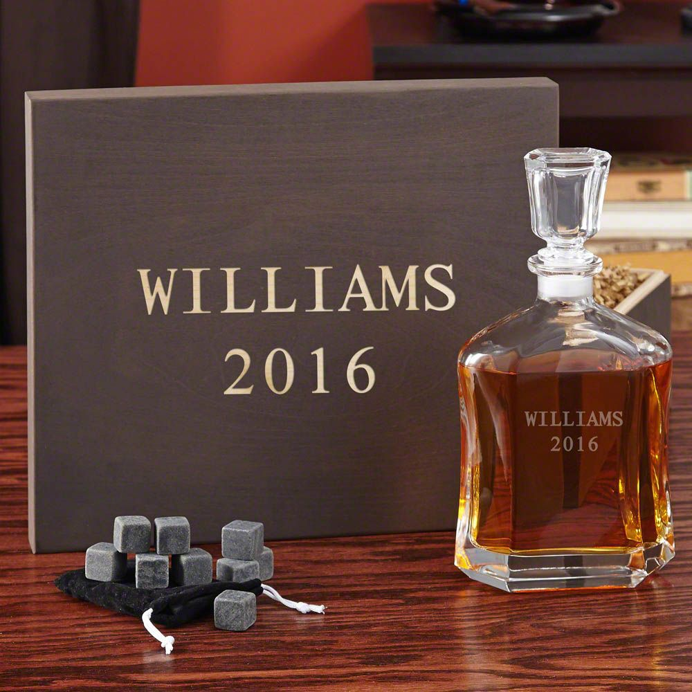 Personalized Decanter Gift Set with Engraved Keepsake Box