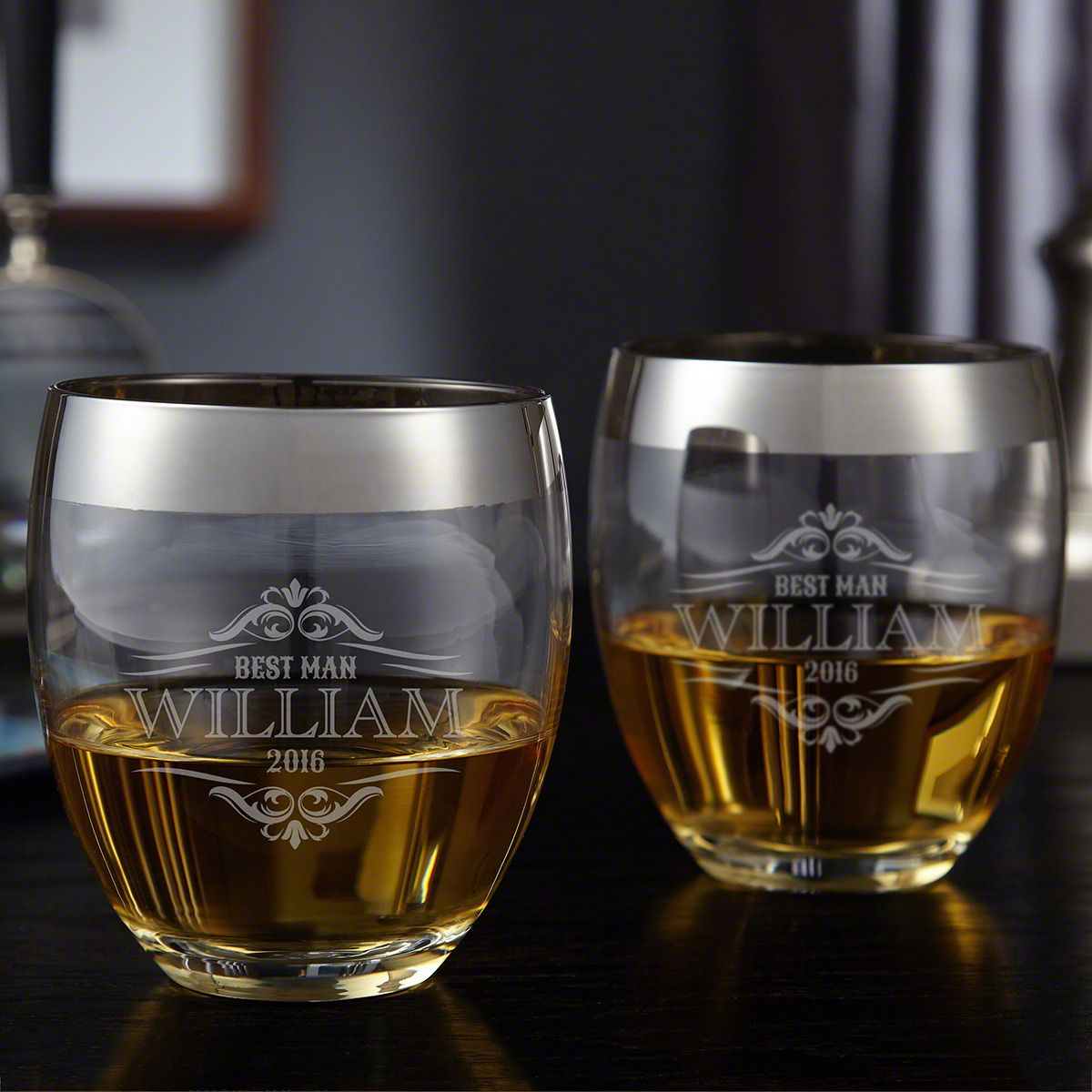 Wilshire Engraved Rocks Glasses, Set of 2