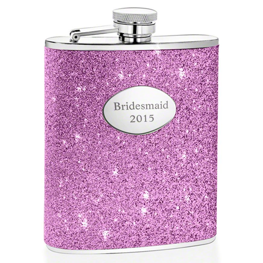 Glitter Purple Hip Flask (Engravable)