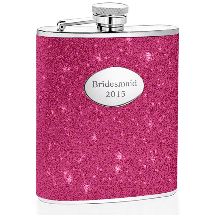 Glitter Hot Pink Hip Flask (Engravable)