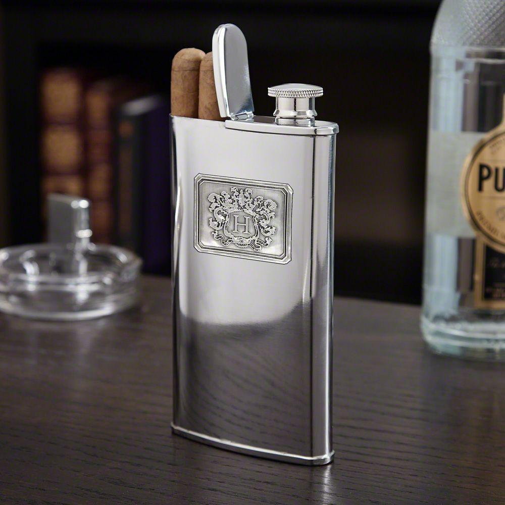 Royal Crested Cigar Flask