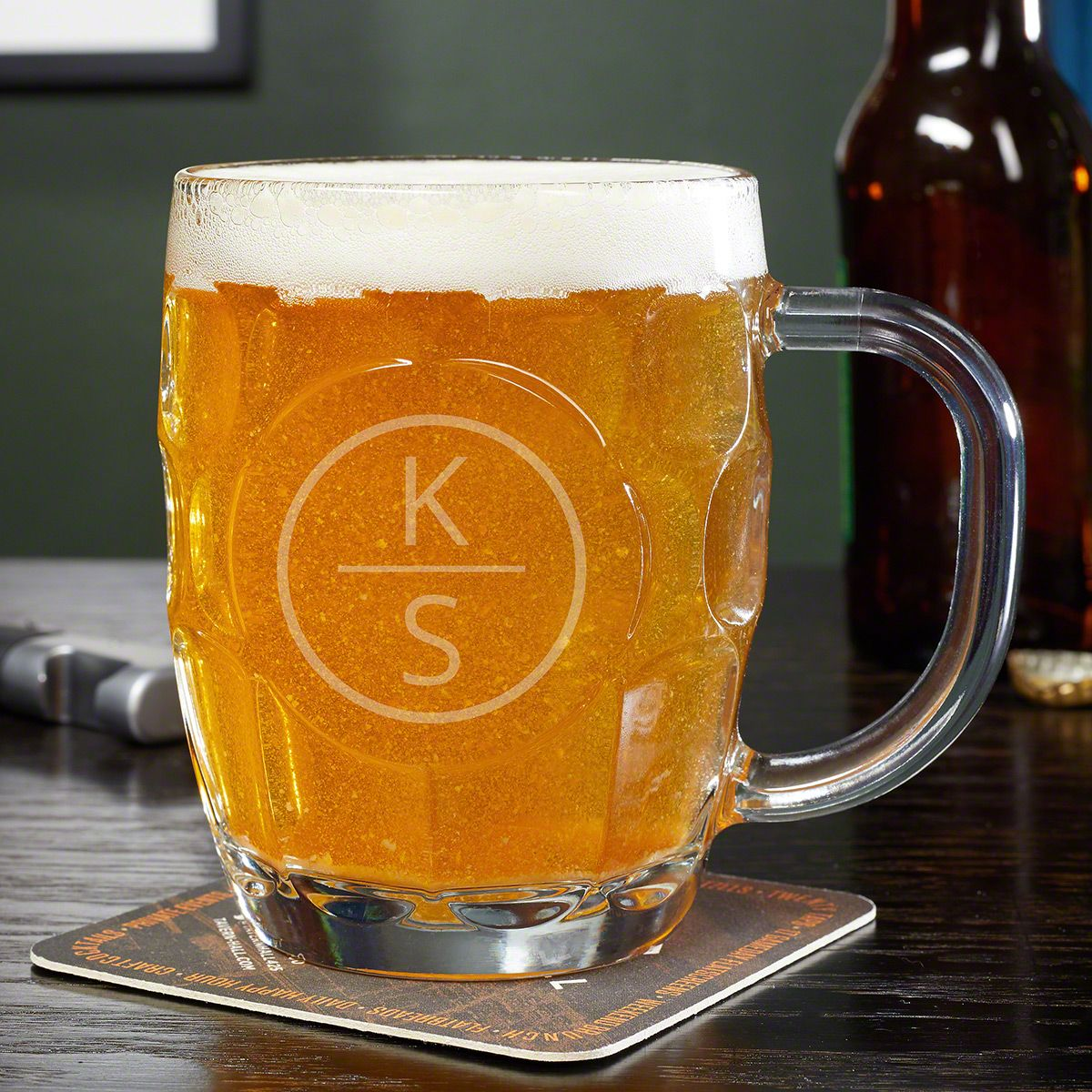 Emerson Custom Dimpled Beer Stein Glass