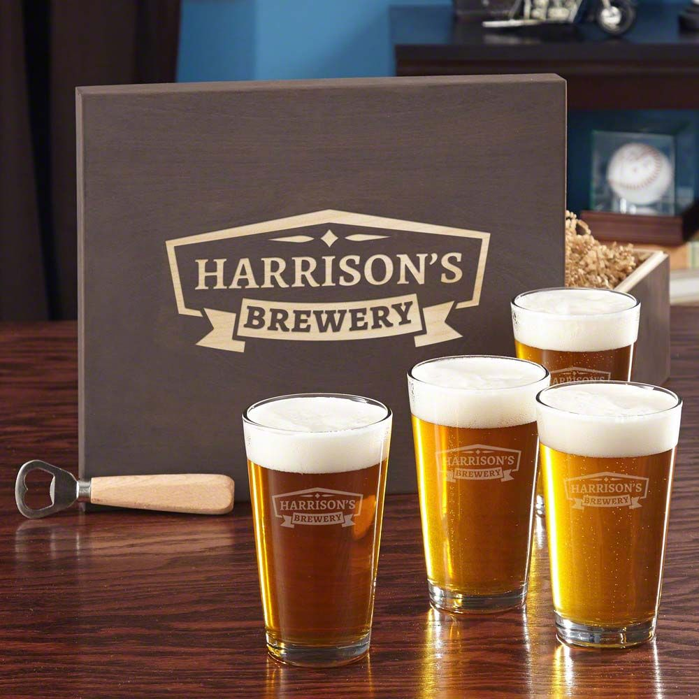 Classic Brewery Beer Glass Set with Custom Wood Gift Box