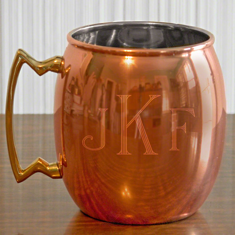 Classic Monogram Copper Mug, 24 oz