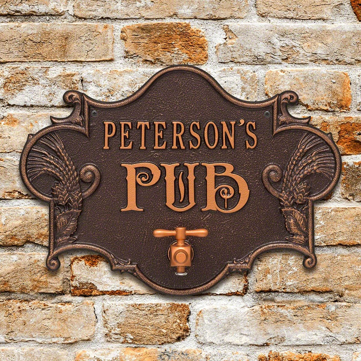 Hops & Barley Personalized Beer Pub Plaque - 7 Color Options