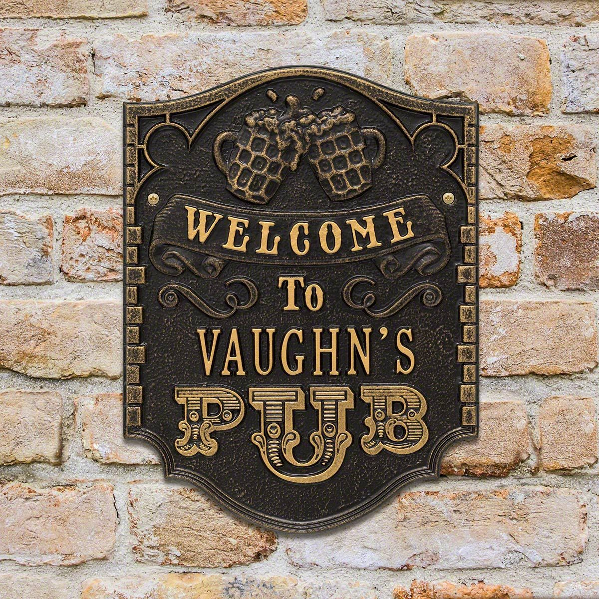Pub Welcome Customized House Plaque - 7 Color Options