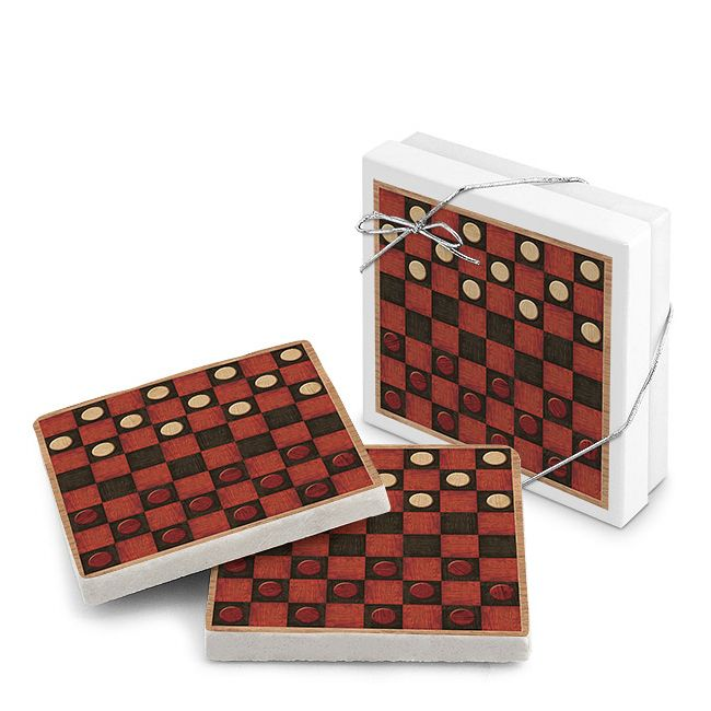Old-Fashioned Checkerboard Natural Stone Coasters Set of 2