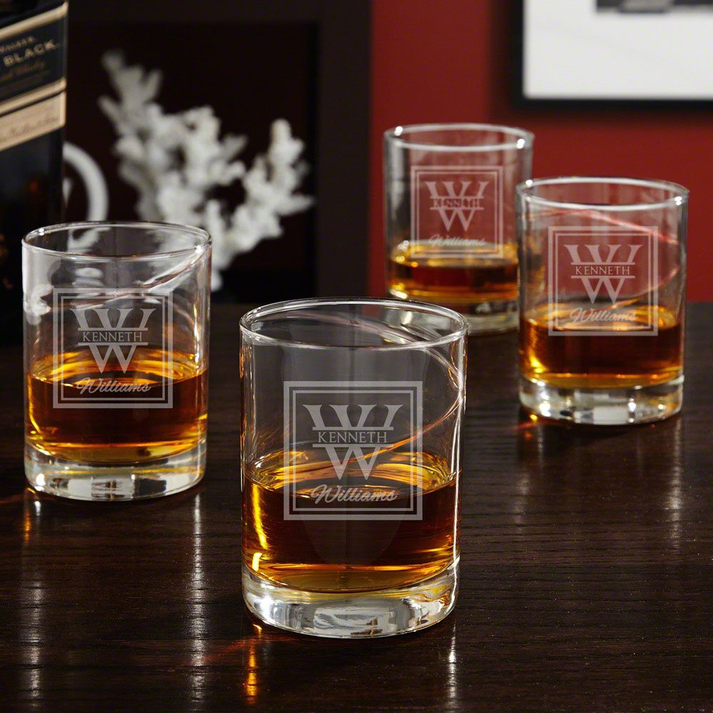 Oakhill Hand-Blown Engraved Whiskey Glasses, Set of 4