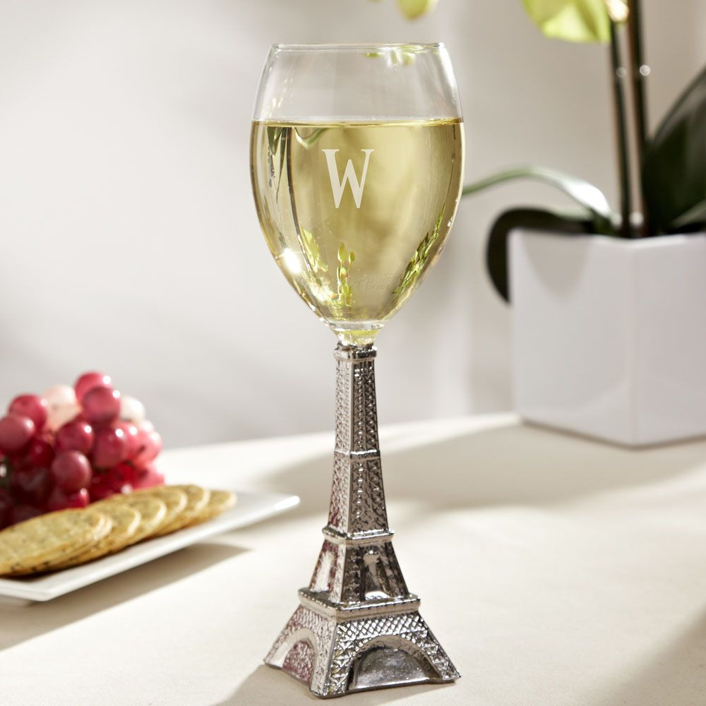 Silver Eiffel Tower Wine Glass