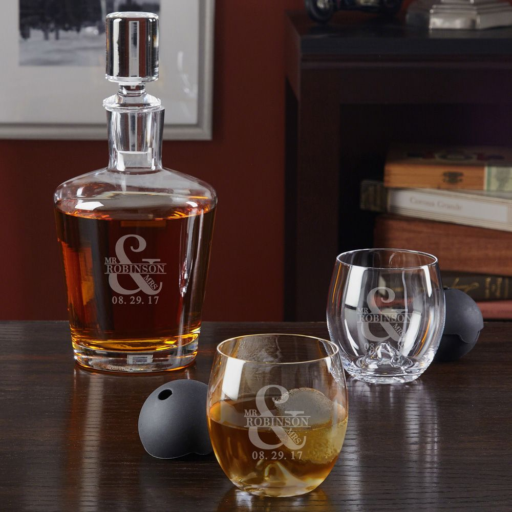 Love & Marriage Decanter Set with Roller Rock Glasses