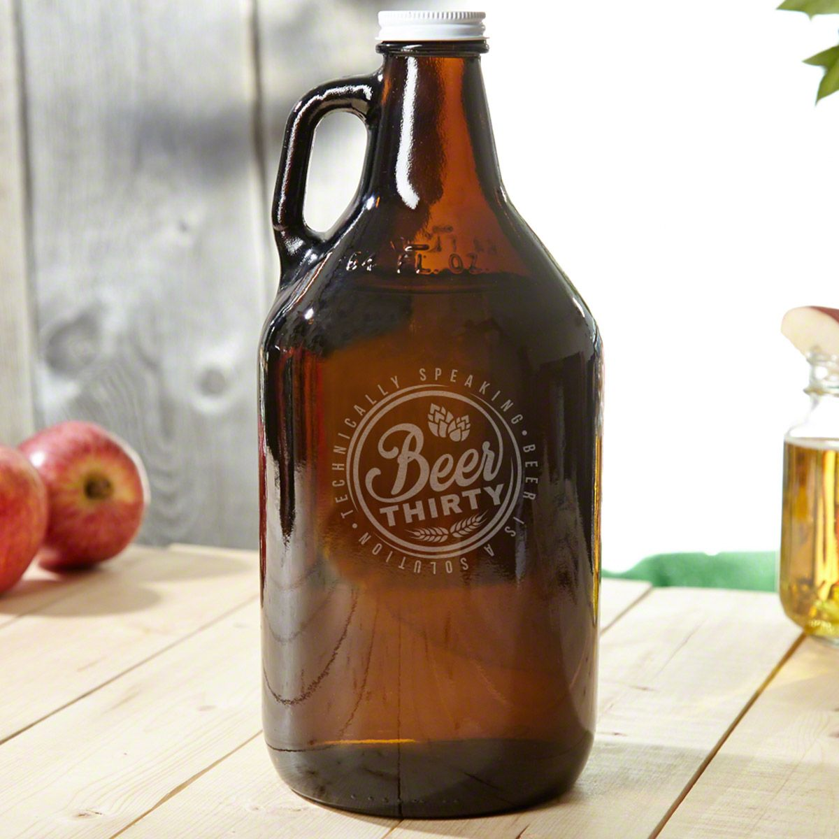 Beer Thirty Amber Glass Beer Growler