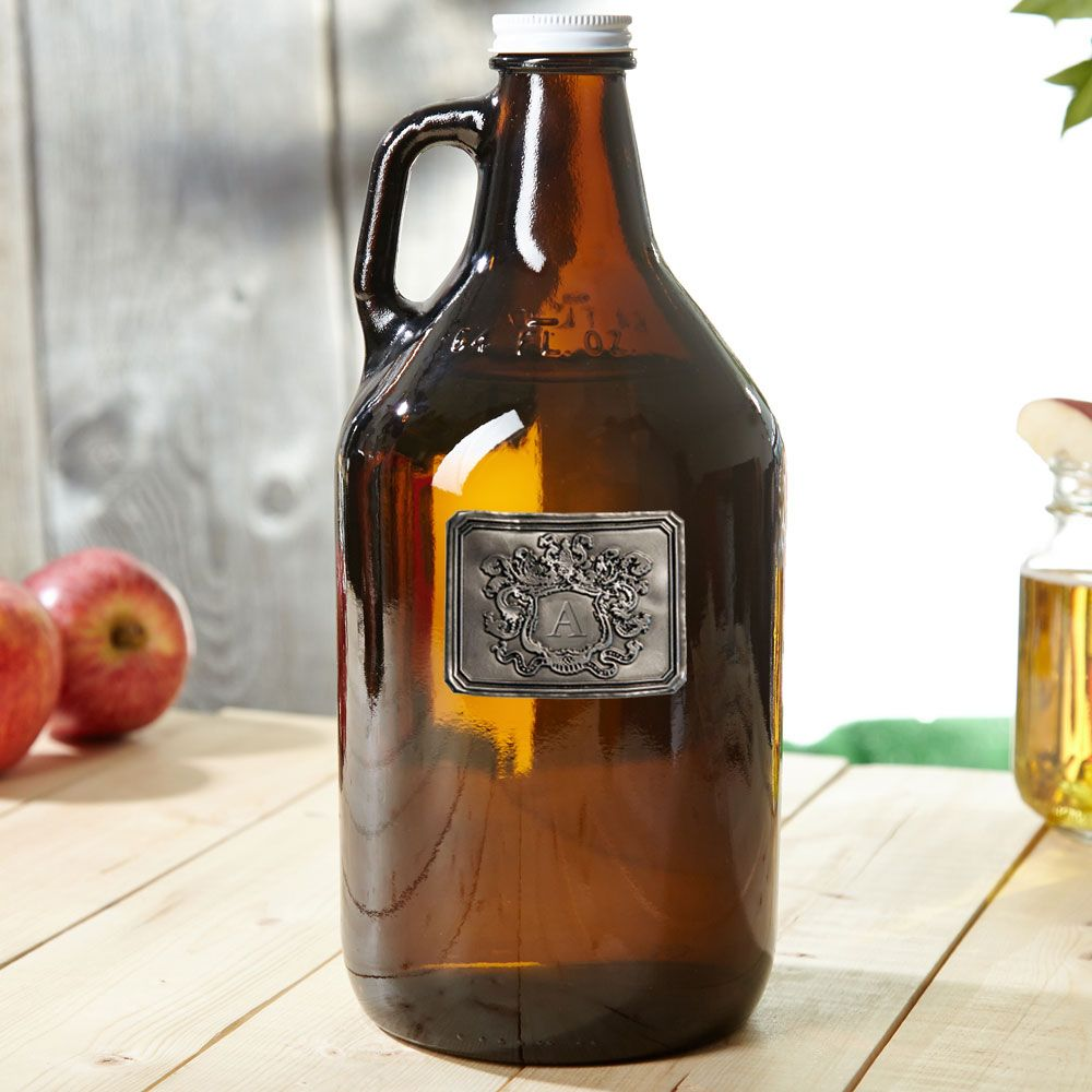 Personalized Royal Crest Amber Beer Growler