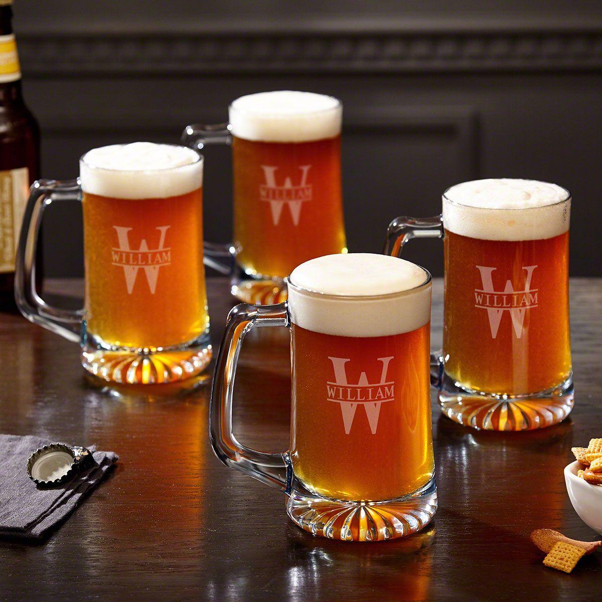 Oakmont Engraved Glass Beer Mugs 15 oz, Set of 4