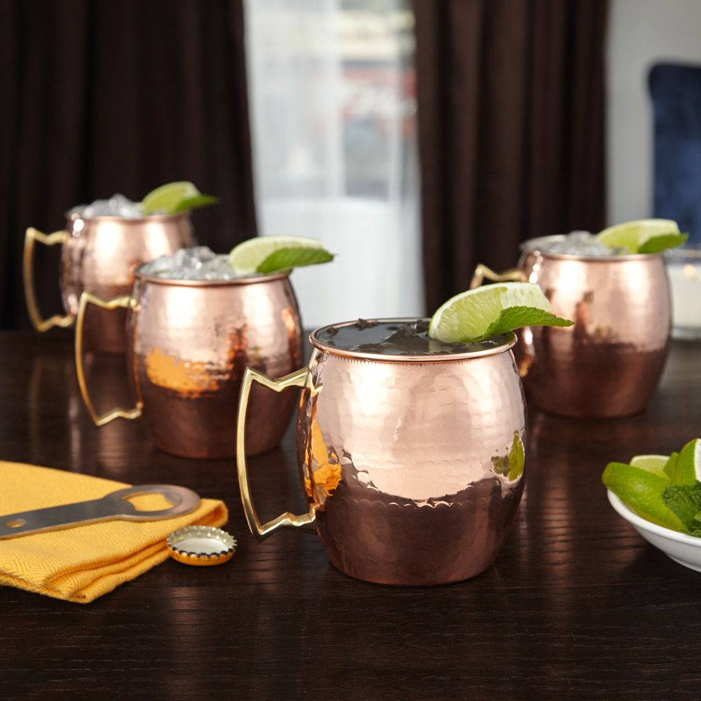Hammered Copper Moscow Mule Mugs, Set of 4