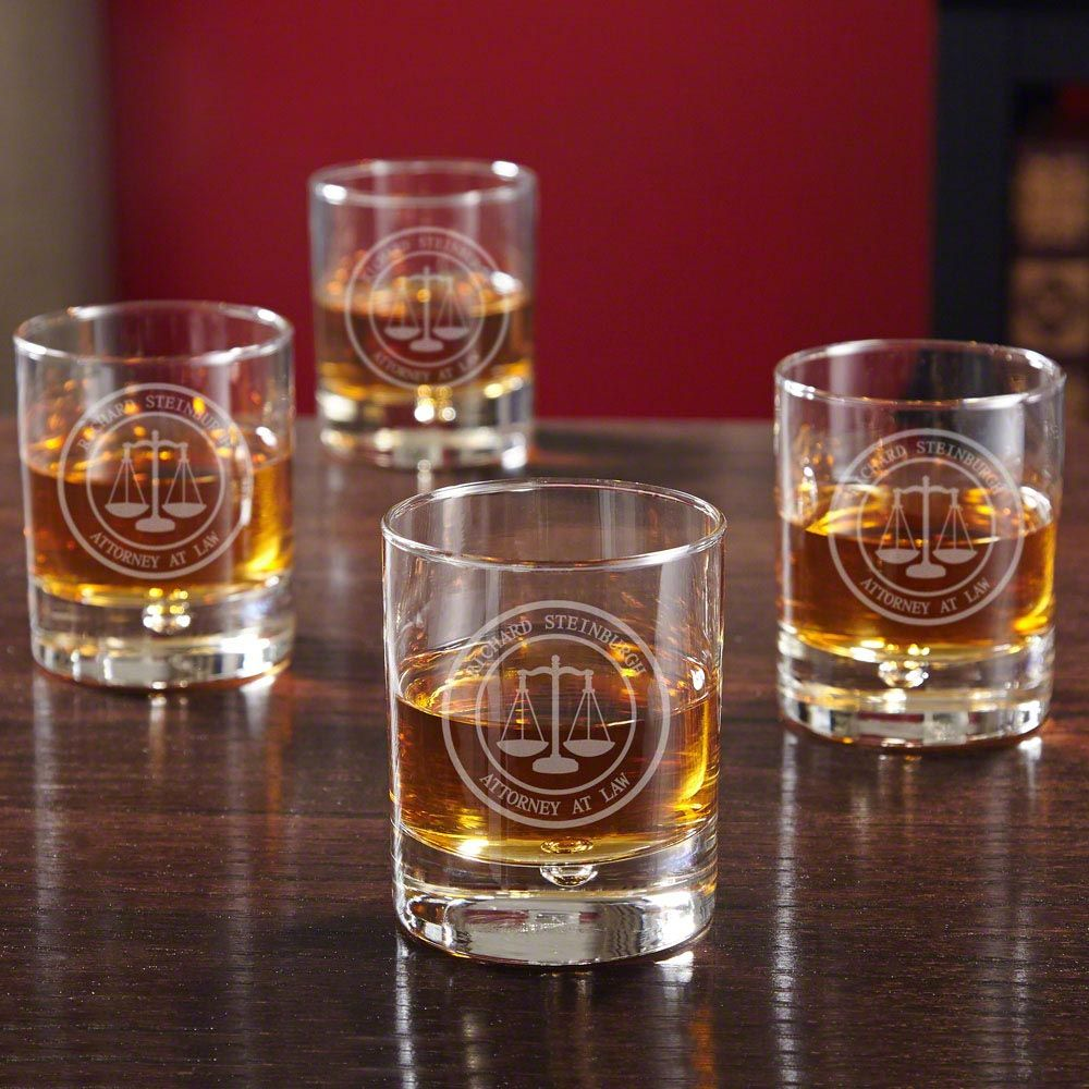 Scales of Justice Personalized Bryne Whiskey Glasses for Lawyers, Set of 4