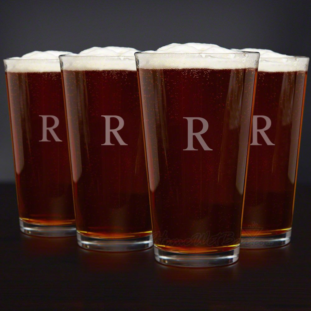 Personalized Classic American Pint Glasses, Set of 4