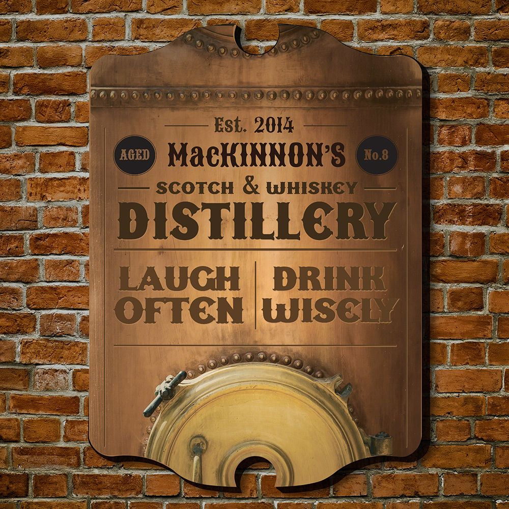Whiskey Distillery Personalized Bar Sign